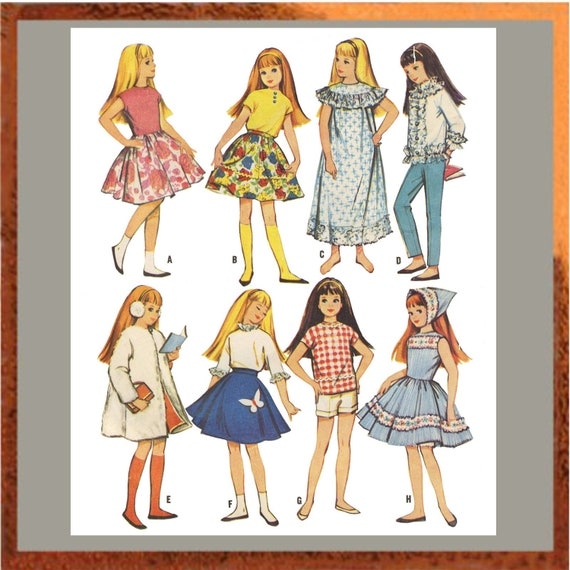 vintage s skipper doll clothes pattern for