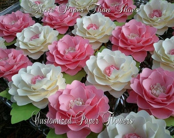 Paper Flowers - Weddings - Party Favors - Elizabeth Rose - Set of 20 - Pink and White - Custom Colors Available