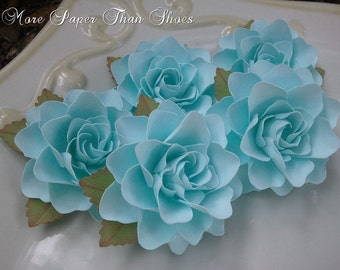 Paper Flowers - Weddings - Party Favors - Handmade - Set of 50 - Powder Blue - Custom Colors Available