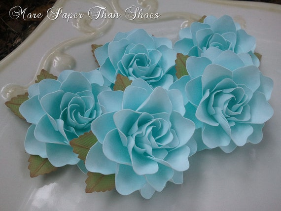 Paper Flowers - Weddings - Party Favors - Home Decor - Set of 50 - Powder Blue -  Custom Colors Available
