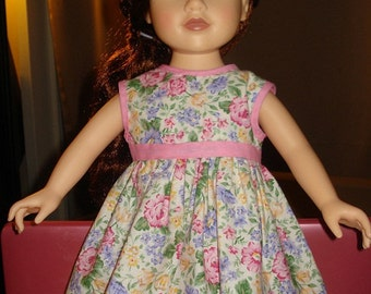 Colorful floral sleeveless full dress with pink trim for 18 inch Dolls - ag71