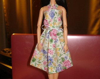 Handmade white & pink floral sundress for Fashion Dolls - ed859