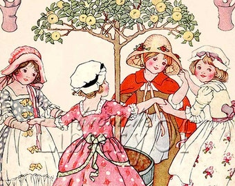 Mulberry Bush - ADHESIVE bookplate -  Girls Playing Games - Personalized Vintage Bookplate -