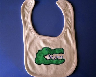 Baby bib- Embroidery and appliqued alligator