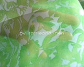 "silk fabric, Spring green floral print Silk Organza, one yard by 42"" - ramieandlinen"