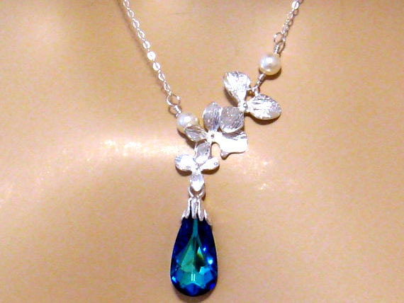 Romantic Blue Crystal Necklace: Triple Orchid Flower, Bermuda Blue Swarovski Crystal, Pearl Bridal Necklace, Elegant Bridal Wedding Jewelry