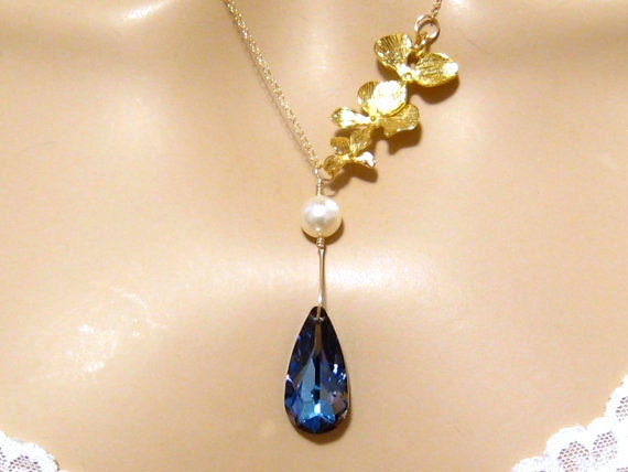 Romantic Necklace: Triple Gold Orchid Flower Pearl Swarovski Maliblue Dark Blue Crystal Necklace, Romantic Jewelry, Bridal Wedding Necklace