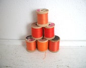Vintage Wooden Spools of Thread- Orange Dream Machine