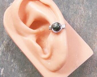 Russian Seraphinite & Silver Ear Cuff