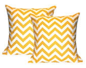"Pillow Cover Cushion 18x18"" yellow zig zag chevron"