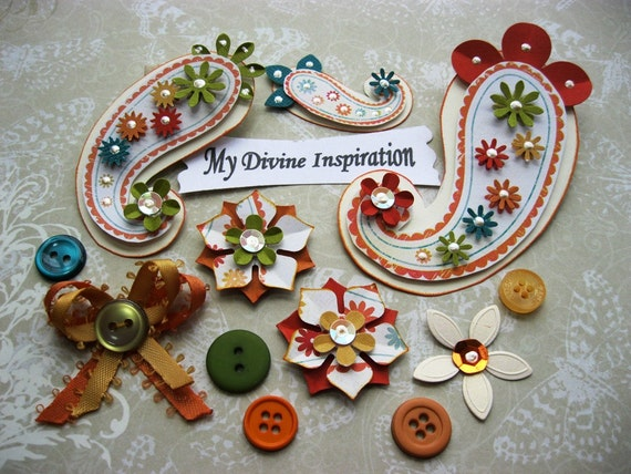 On Sale Orange Beige Green and Gold Paper Embellishments and Paper Flowers for Scrapbooking Cards Mini Albums and Papercrafts
