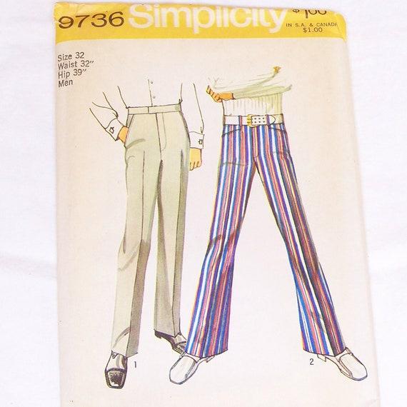 Vintage Mens Hip Hugger Bell Bottom Pants Simplicity 9736 Uncut Waist 32