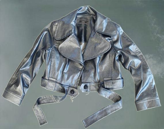 Sale denim crop jacket metallic high shine by tratgirl
