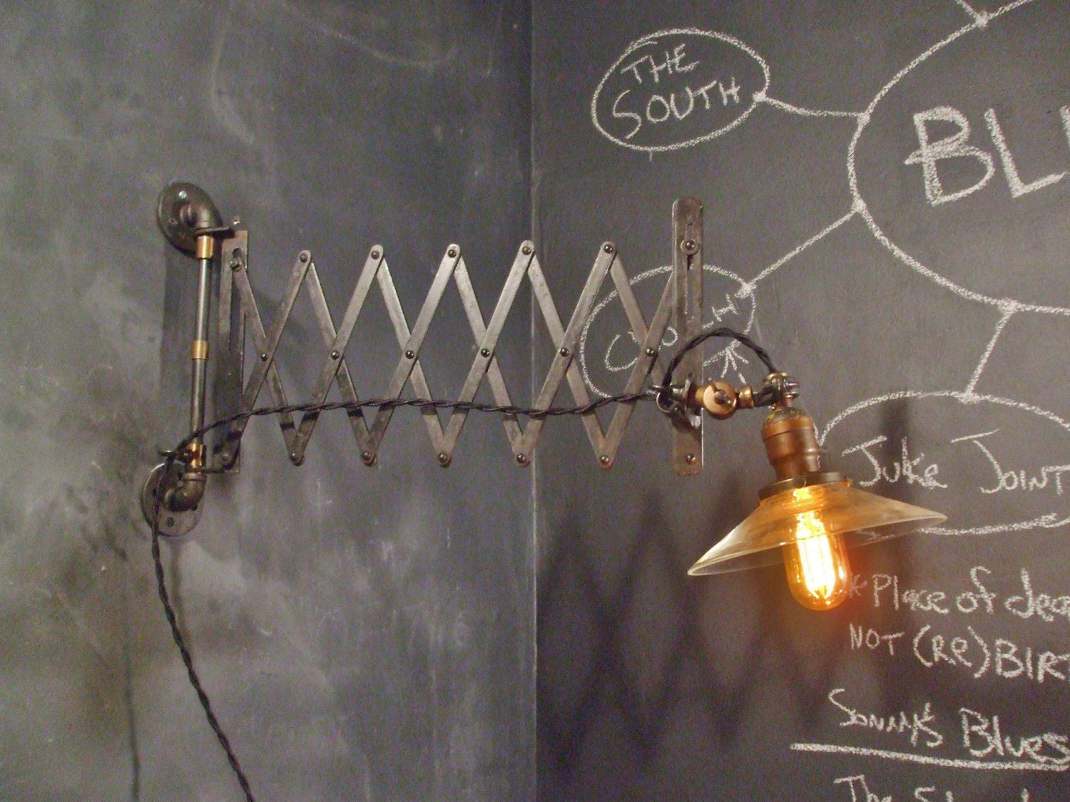 Wall Mounted Scissor Lamp : Vintage Industrial Scissor Wall Lamp Machine Age Desk Work