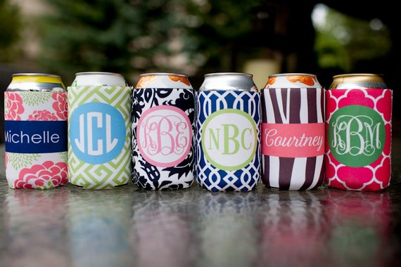 monogrammed drink coolie - choose one from 6 template designs, customize name/initials only