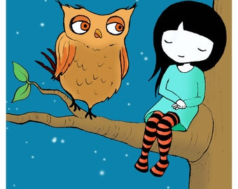 OWL GIRL high quality giclee print 8 x 10 inches