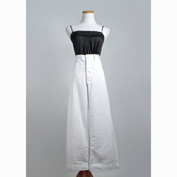 Vintage Bell Bottom Jeans / 1960s White Wide Leg Pants / 60s High Waist Jeans / SALE