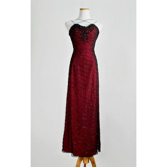 Vintage Burgundy Beaded Dress / 1980s Tiffany Black Silk Chiffon over Red Taffeta Evening Gown with Criss Cross Spaghetti Straps / SALE