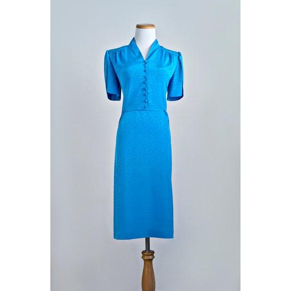 Vintage 1980 S Aqua Dress 80 S Floral Button By