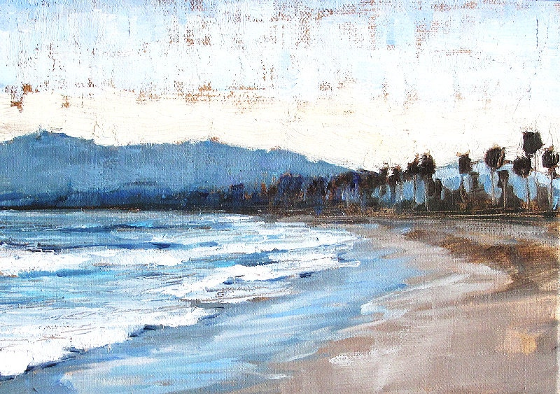 Santa Barbara Beach Sunset California Landscape Painting