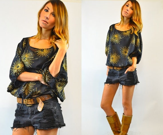 reserved--black and gold FIREWORK shimmery SPARKLER top blouse, extra small - medium