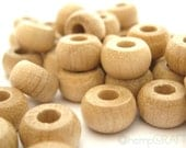 Wood Beads, Natural Wood Pony Beads, 6x10mm, Large Hole Beads, 50pc