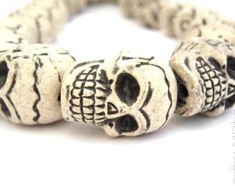 Skull Beads, White Ceramic Detailed Focal Beads, 20x27mm - 5pc