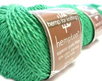 Hemp Cotton Yarn, Emerald Green DK Weight 130yd Hemp/Cotton/Modal Blend