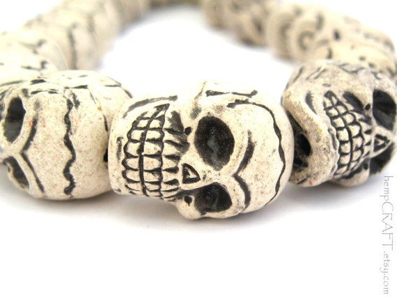 Skull Beads, White Ceramic Detailed Focal Beads, 20x27mm - 5pc