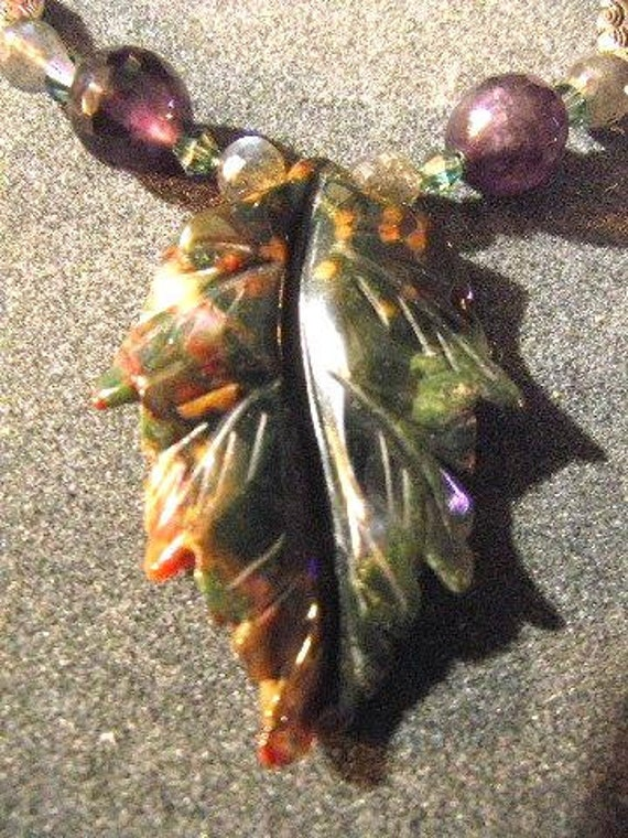 Jasper Leaf Necklace