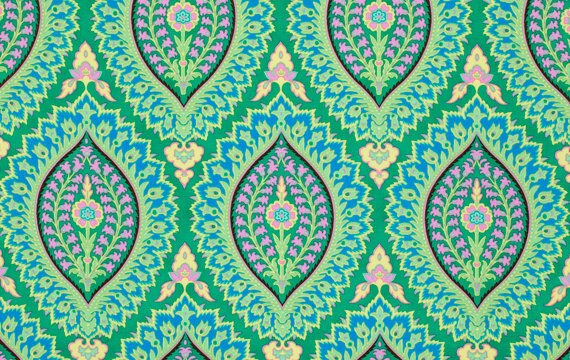 Amy Butler Alchemy Fabric, Imperial Paisley in Emerald, 1 yard