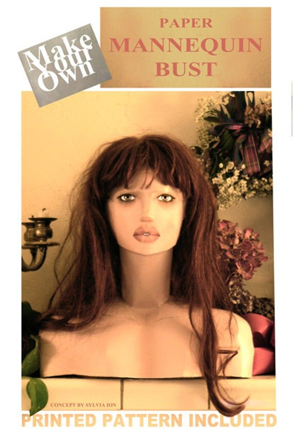 Make Mannequin Bust from paper Life Size wigs hats jewelry