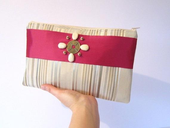 Striped Bead Pouch Purse WalletClutch Cream Zipper Case Pink Satin Gold Sheen