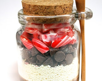 Hot Chocolate Mix in Jar with Mini Wooden Spoon Layered with Candy Canes, Hot Cocoa Mix, Winter Wedding Favors, Housewarming, Corporate Gift