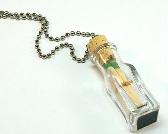Bottle Necklace with Matches- Mini Glass Bottle with 3 Wooden Match Sticks, Emergency Match, Strike Anywhere Matches