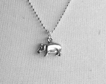 Hippo Necklace, Hippopotamus Necklace, Hippo Pendant, Hippo Jewelry, Hippopotamus Pendant, Sterling Silver Jewelry, Hippo