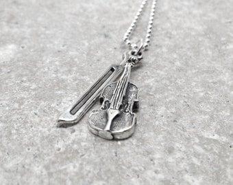 Violin Necklace, Violin Jewelry, Violin Pendant, Charm Necklace, Sterling Silver Jewelry, Violin Charm, Violin, Sterling Silver Violin