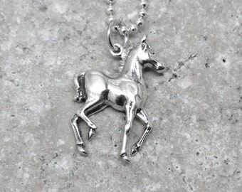 Horse Necklace, Horse Jewelry, Charm Necklace, Horse Pendant, Sterling Silver Jewelry, Horses, Sterling Silver Horse Charm, Horse