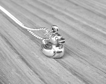 Rubber Duck Necklace, Sterling Silver Rubber Duck Necklace, Duck Pendant, Rubber Duckie Necklace, Duck Jewelry,Sterling Silver Jewelry