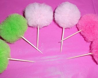 Mini Tulle Pom Pom Cupcake Toppers