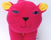 Cat Plush stuffed kitty cat in bright pink and yellow - Nikki Robinson