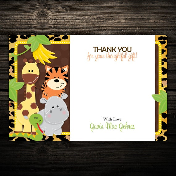 Leopard Jungle Friends Thank you Notes - PRINTABLE - Baby Shower, Birthday