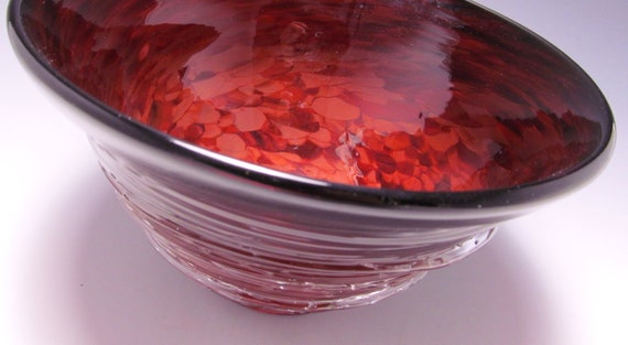 Red Blown Glass Bowl - blown glass - red bowl - art bowl - blown glass vessel - blown glass red - art glass