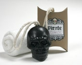 Pirate Skull-On-A-Rope - Black as a Pirates Heart  Soap On A Rope Skull