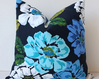 Navy blue Green Teal Floral Designer Pillow Cover 18 Accent Cushion gray white citrine garden periwinkle flowers hollywood regency bold