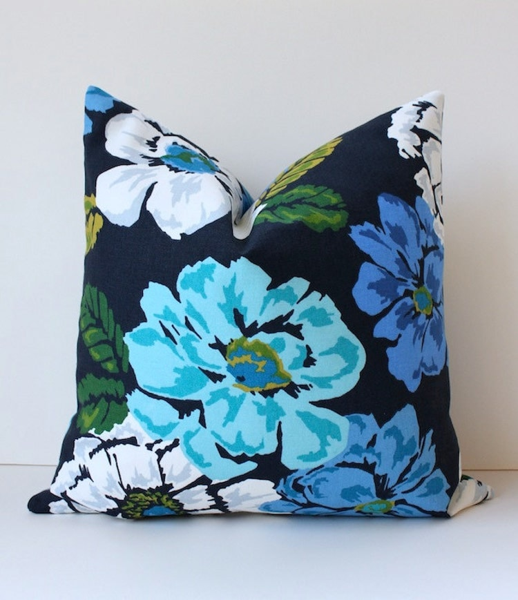 Canadian Inspired Home Decor Canada Pillow Via Etsy: Navy Blue Green Teal Floral Designer Pillow Cover By
