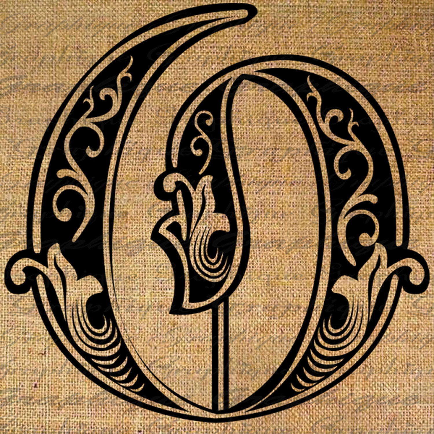 Letter Initial O Monogram Old Engraving Style Type By