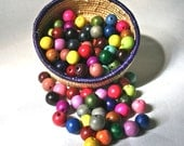 100 Multicolor Wooden Beads 12mm Round 4 each of 25 Brilliant Colors for Crafting
