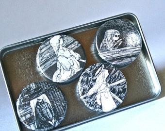 Strong Magnets Featuring Dark Young Girls by Edward Gorey for Home Office Decor Stocking Stuffer