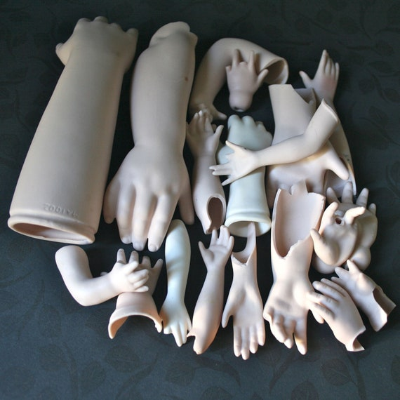 Macabre Vintage Collection of Broken Porcelain Doll Arms and Hands Perfect for Altered Art or Halloween Assemblage